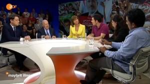 Ägypten-Talk im ZDF: (v.l.n.r.) Philipp Mißfelder, Peter Scholl-Latour, Maybritt Illner, Hamed Abdel-Samad, Luban Azzam, Mazan Okasha