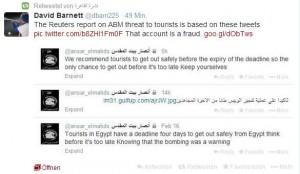 Auf dieser Twitternachricht beruht die das angebliche Ultimatum gegen Touristen. Screenshot: Anja Buchloh