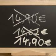 Tafel mit Preisänderungen